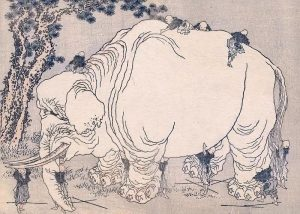 Hokusai's Blind Men Examining an Elephant